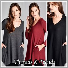 Hacci Blush Tunic Top Hacci blush knit top. Featuring V neck, pockets and asymmetrical hem. Made of a hacci blush knit soft and flowy fabric. Colors charcoal, black and wine. Size S, M, L Threads & Trends Tops Tunics