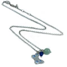 AN0015 - Rhodium plated necklace with butterfly and bead charms  www.annabellewalker.com