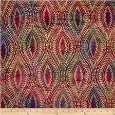 Indian Batik Tribal Medallion Metallic Pink/Purple