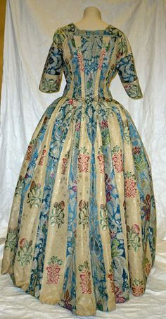 Gown, 1730s, altered ca. 1770 (and later for fancy dress); VAM T.14-19455