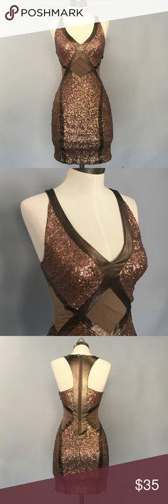 Beautiful brown sequin dress by Bebe! Beautiful brown sequin dress by bebe! bebe Dresses Mini