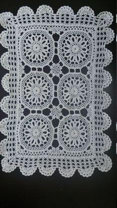 Large Vintage Doily Crocheted Rectangular Doily or Table Runner Antique Linen White Colour Free Shipping