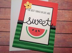 Handmade card, watermelon card,homemade cards,any occasion card, handmade watermelon card, cute cards by PinkyPromiseBargains on Etsy