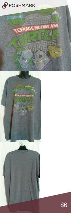 Teenage mutant ninja turtle tee Gray short sleeved tshirt with TMNT on front Shirts Tees - Short Sleeve