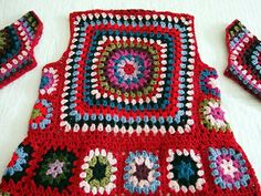 Tutorial for Crochet, Knitting. Gilet Crochet, Crochet Jacket, Crochet Cardigan, Crochet Stitches Patterns, Crochet Designs, Crochet Squares, Crochet Granny, Granny Squares, Love Crochet