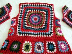 Tutorial for Crochet, Knitting. Gilet Crochet, Crochet Jacket, Crochet Cardigan, Crochet Shawl, Crochet Stitches Patterns, Crochet Designs, Crochet Squares, Granny Squares, Love Crochet