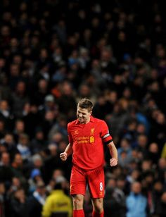 Great pic of Steven Gerrard today at The Etihad after scoring against Manchester Citeh. Pity we didn't get 3 points. #LFC
