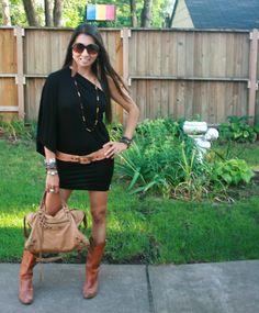 black dress / cowboy boots