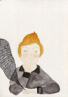 Bowie - Watercolor and pen illustration by Luisa Possas
