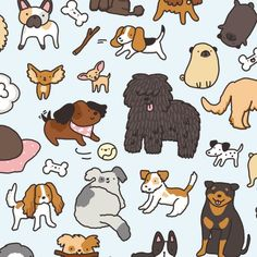Last one  What's your favorite dog breed?  #kawaii #doggy #doodle #puli #cavalier #pugs #chihuahua #beagle #frenchbulldog #dogpattern #cutedogs