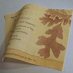 Fabric wedding invitation vintage oak leaves by ArtfulBeginnings, $75.00