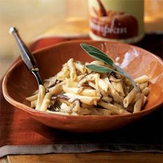 Pasta with Mushrooms and Pumpkin-gorgonzola sauce. I'm not a real fan of pumpkin flavor, but this pasta is amazing!!!
