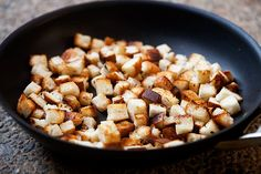 Make your own homemade croutons, on the stovetop, toasted in butter.
