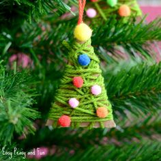 Yarn Wrapped Christmas Tree Ornament Craft for Kids