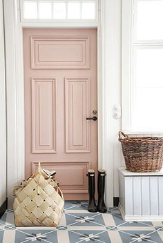 [orginial_title] – Glitter Guide 10 Gorgeous Nude and Blush Pink Living Spaces soft pink blush nude fron door house entrance ideas interior design shop room ideas black white tile floor checker diamond pattern Front Door Paint Colors, Painted Front Doors, Painted Interior Doors, Interior Door Colors, Painted Bedroom Doors, Painted Furniture, Entryway Paint Colors, Best Front Door Colors, Painted Wardrobe