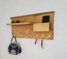Entryway Organizer / Coat Rack / Mail holder / Cell Holder / Key Hanger Rustic Decor  - Golden Oak with Satin Nickel Hooks - Ready to Ship!!