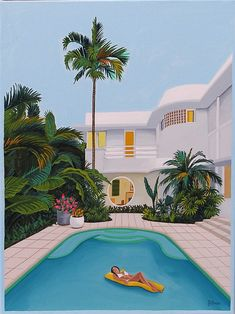 Mid Century Modern Eames Retro Limited Edition Print from Original Painting Woman Floating Pool - - Eames, Art And Illustration, Art Illustrations, Aesthetic Art, Aesthetic Pictures, Pool Girl, Images Murales, Miami Art Deco, Escape