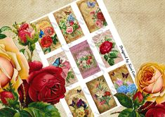Printable Downloadable A4 Vintage Floral Collage Sheet by KiwiCardHouse on Etsy