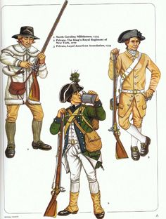 British;Loyalist Troops, L to R; North Carolina Militiaman 1775, Private The King's Royal Regiment of New York 1777 & Private Loyal American Association 1775 from an early Osprey Men at Arms (originally published possibly in 1980)