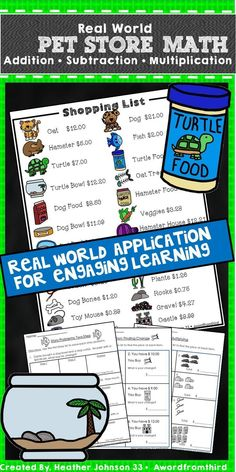 You need this resource for your classroom. Real world math practice using addition, subtraction and multiplication of money. My students are completely engaged and it is so easy to differentiate! I use it for small groups, centers, fast finishers, and so much more! #mathpractice