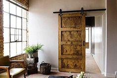 Erfect 6.6 FT Antique Style Barn Door Hardware Sliding Set Wood Door Track Kit Coffee (Rhombic)