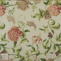 """Fabric Sample, Fasanarie Glazed Chintz, White A sample of a Brunschwig & Fils Inc. fabric design, no. This is a screen print sample. The pattern is """"Fasanarie"""". The fabric is glazed cotton chintz."""