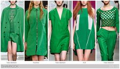 Top 10 Women's colors for Spring / Summer 2015, by Fashion Snoops. A new green on the horizon this season is a very saturated shamrock shade.