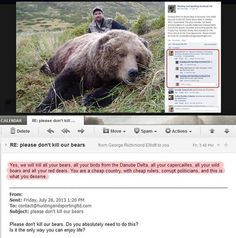 """A bear hunter from Scotland wants to organize in October a hunting event in the Carpathian Mountains in Romania. A girl sent him a message and asked him to stop doing this , but his answer was: """"Yes, we will kill all your bears, all your birds from the Danube Delta, all your capercailles, all your wild boars and all your red deers. You are a cheap country, with cheap rulers, corrupt politicians, and this is what you deserve.""""  #animals #wildlife #innocent #support #petition #hunting #cruel"""