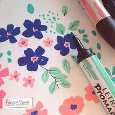 Some marker pen florals by Rebecca Stoner #artdaily2015 #florals #floralpattern