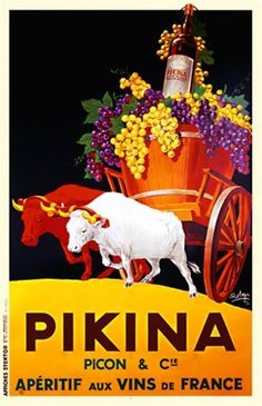 Pikina aperitif poster by Robys 1936 France - Beautiful Vintage Poster Reproduction.