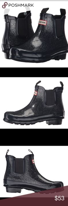 HUNTER Kids Original Glitter Chelsea Rain ☔️ Boot HUNTER Kids- Original Glitter Chelsea  With a flash of silver and a glint of gold, you'll light up the room with the Original Glitter Chelsea rain boot from Hunter® Kids! Handcrafted waterproof rubber upper with a touch of glitter finish. Pull-on construction with elastic side gussets. Back pull-tab for easy entry. Textile lining. Designed to fit the Original rain boot, they provide added comfort, while the cushioned insole gives support to…