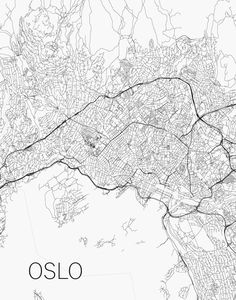 OSLO STREET Map Print, Ny Maps, Black and White City Poster, NORWAY Minimal Wall Art, Home Decor, Modern Art, Street Maps QUALITY & DETAILS