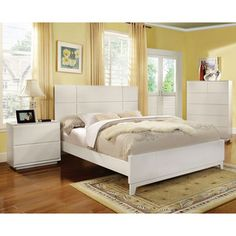 Furniture of America Cheshire Modern White Platform Bed