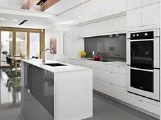 cuisine blanche et grise avec crédence et bar anthracite