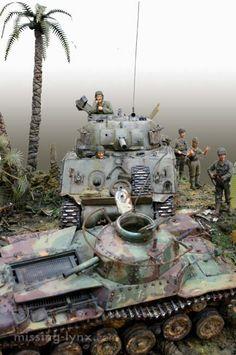 missing-lynx.com - Gallery - Shigeyuki Mizuno's M4 Sherman vs. Type 97, Saipan, July 1944 diorama
