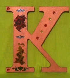 Wood Letter K, Bronze with Flower Decals and Sequins by projectsbyGnG on Etsy