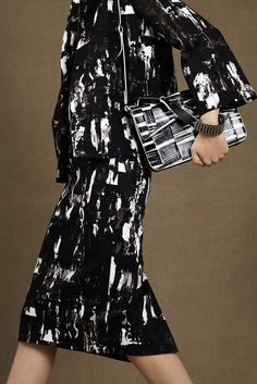 McQ Alexander McQueen Pre-fall '15: print jacket and midi skirt in black and white print