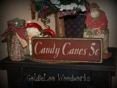 Primitive, Folk Art, Candy Canes 5 cents,Christmas sign. $8.00, via Etsy.