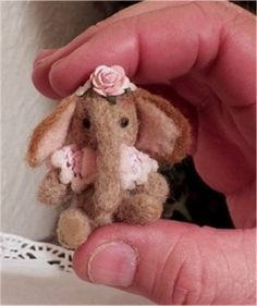 Miniature Needle Felted Elephant dollhouse size with chair  OOAK   CTD