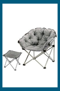 L-out Folding Chair, Ergonomics Seat Cozy Portable Stool for Home Garden Balcony (Color : Gray)