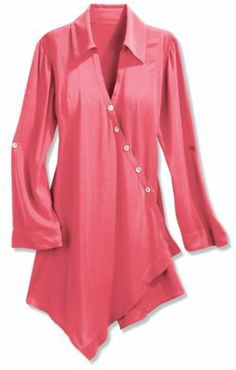 Petites Cannes Tunic - Rayon Tunic, Tunic, Asymmetrical Hem | Soft Surroundings                                                                                                                                                     More