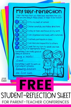 Are you looking for a student reflection sheet for conferences. This FREE student self assessment sheet is great for parent teacher conferences. Students get to reflect on their learning and behavior and think about how they are doing in the classroom. This is great to share with parents at conferences. Students get to provide input on their own learning and take ownership for their behavior. Download your free student reflection sheet today.