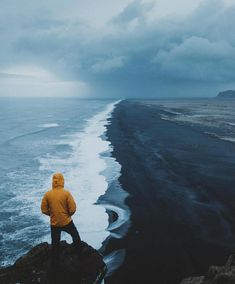 "71 Likes, 2 Comments - Yellow Coats (@yellowcoatcollective) on Instagram: ""  @ryansheppeck . #yellowcoatcollective #iceland #blackbeach #adventure #travel #outdoor"""