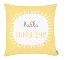 This cheerful little cushion is a favourite of ours and always make us smile. Screen printed yellow 'Hello Sunshine' print on the front, and taupe stripes on the reverse, it sits happily in any room in the house. Pink Throw Pillows, Toss Pillows, Accent Pillows, Ideas Prácticas, Baby Ideas, Pink Home Decor, Pillow Room, Nursery Inspiration, Nursery Ideas