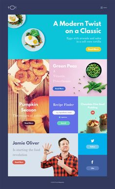 Free a simple Design & Food Magazine Template created by Stelian Firez Site Web Design, Food Web Design, App Design, Design Ideas, Food Magazine Layout, Webdesign Layouts, Site Vitrine, Magazine Website, Web Magazine