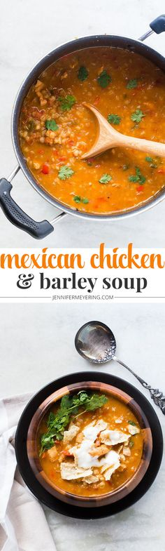 Mexican Chicken and Barley Soup - JenniferMeyering.com Mexican Food Recipes, Soup Recipes, Chicken Recipes, Barley Recipes, Mexican Dishes, Chili Recipes, Dinner Recipes, Cooking Recipes, Chicken Barley Soup