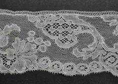 mid 18th c Louis XV design Flemish Mechlin lace with fond de glace or ijsgrond (detail)