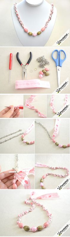 Jewelry Tutorial-How to make a Ribbon Necklace with Beads from pandahall.com