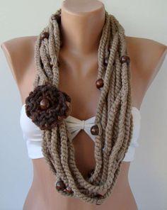 Sciarpe di lana - Sciarpe con applicazioni a fiore