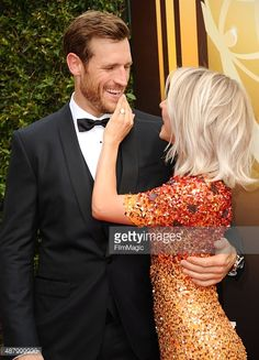 Brooks Laich and Julianne Hough attend the 2015 Creative Arts Emmy Awards at Microsoft Theater on September 12, 2015 in Los Angeles, California.